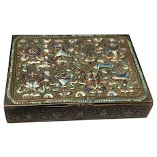 Antique Chinese Tobacco Cloisonné Enamel Copper Box