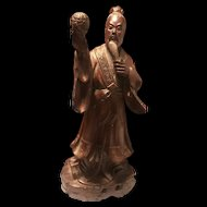 Antique Carved Chinese Rosewood Figure Statue