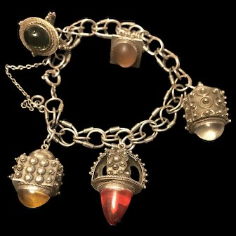 Antique Italian Etruscan 800 Silver Huge 6 Fob Charms Bracelet