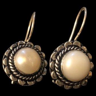 Amazing Estate Vintage Sterling Silver Culture Pearls Earrings