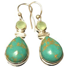 Vintage Sterling Silver Green Turquoise Dangling Earrings