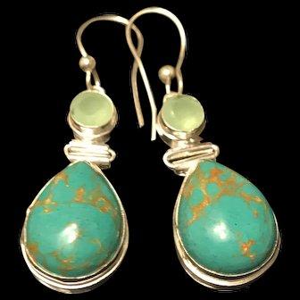 Vintage Sterling Silver Green Turquoise Dangling Earrings