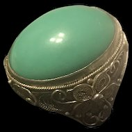 Vintage Chinese Export Sterling Silver Natural Turquoise Filigree Adjustable Ring