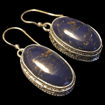 Awesome Large Vintage Lapis Lazuli Sterling Silver Drop Earrings
