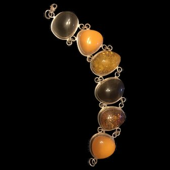 Fabulous Vintage Large Sterling Silver Amber Bracelet