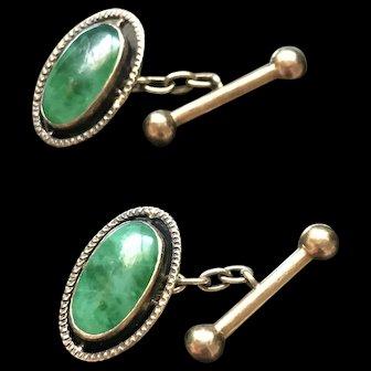Stunning Vintage 14K Jadeite Cufflinks