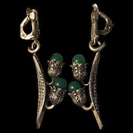 Art Deco Signed Green Onyx Sterling Silver With Marcasite Earrings