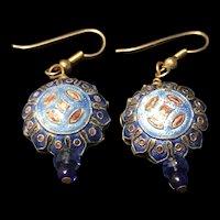 Vintage Chinese Gilt Silver Enamel Lotus Petal Earrings