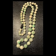 Art Deco 1920's Chinese Apple Green White Jadeite Bead Carved Shou Necklace