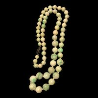 Vintage Chinese Apple Green White Jadeite Bead Carved Shou Necklace