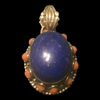 Vintage Sterling Silver Lapis Lazuli Pendant With Coral