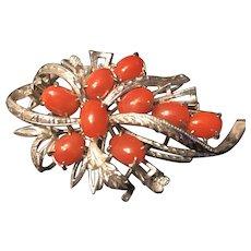 Stunning Vintage Sterling Silver Coral Brooch