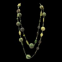 Long Romantic Vintage Green Bakelite Flat Disc Beads And Green Lucite Faceted Beads Necklace
