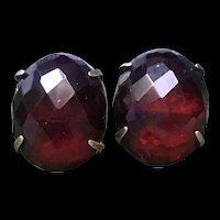 Fabulous Art Deco Dark Cherry Bakelite Faceted Sterling Silver Earrings