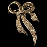 Estate Art Deco 925 Silver Marcasite Bow Brooch