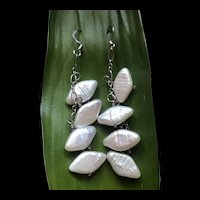 Vintage Sterling Silver Dangle Pearl Earrings