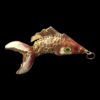 Vintage Chinese Export Sterling Silver Red Enamel Articulated Fish Pendant