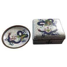 Antique Chinese Qing Dynasty Imperial Dragon Cloisonné Box and Dish