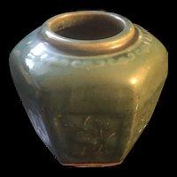 19th Century Chinese Porcelain Hand Paint Green Glaze Ginger Hexagonal Jar