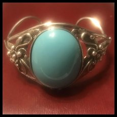 Large Vintage Sterling Silver Sleeping Beauty  Turquoise Cuff Bracelet