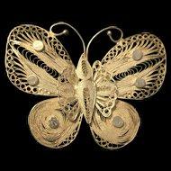 Vintage Art Deco Filigree 925 Sterling Silver Butterfly Wing Brooch