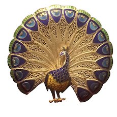 Portugal Vintage Sterling Silver Peacock Brooch
