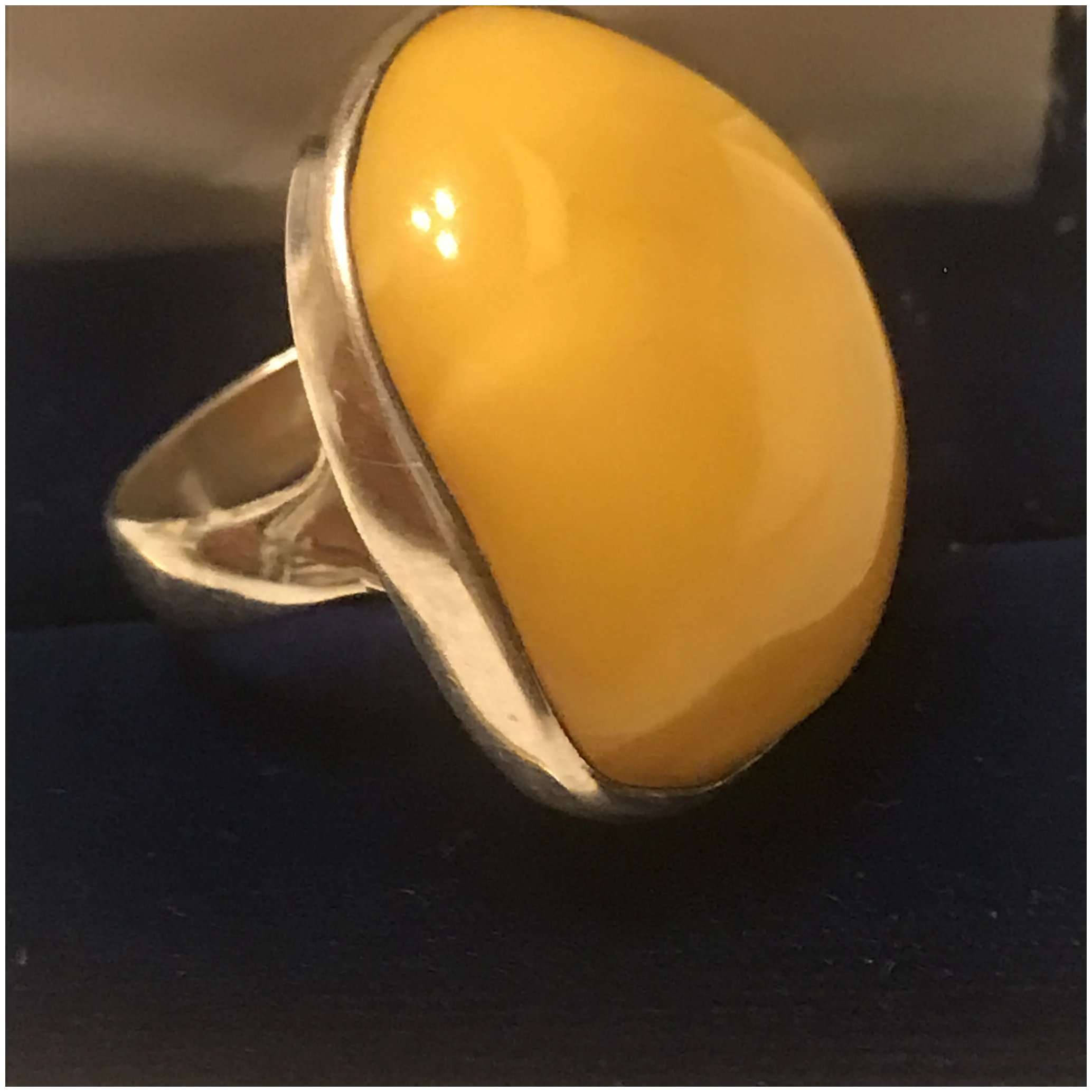Butterscotch Amber ring sterling silver