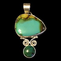 Stunning Vintage Sterling Silver Large Turquoise Pendant