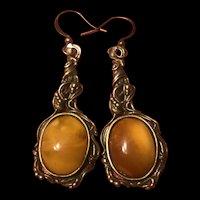 Antique Art Nouveau Sterling Silver Butterscotch Amber Drop Earrings