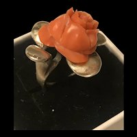 Victorian large Carved Rose Flower Coral Sterling Silver Ring