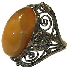 Vintage Natural Baltic Butterscotch Amber Sterlng Silver Ring