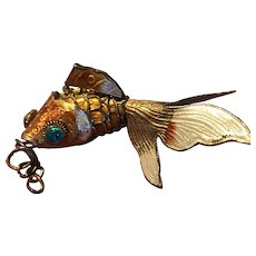 Vintage Chinese Export Articulated Enamel Fish Pendant