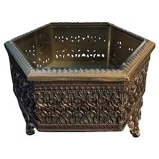 Vintage French Filigree Beveled Glass Jewelry Trinket Casket Box