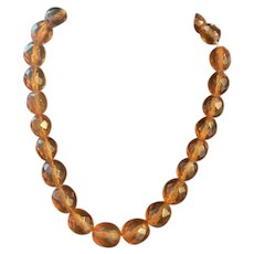 Gorgeous Art Deco Baltic Amber Faceted Beads Necklace