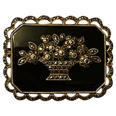 Antique Victorian English Sterling Silver Onyx And Marcasite Flowers Basket Signed