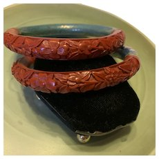 Vintage A Set Of  Chinese Cinnabar And Cloisonné Bangle