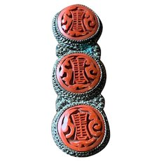 Exquisite Vintage Chinese Carved Cinnabar Lacquer Dress Clip