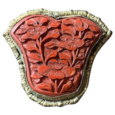 Exquisite Vintage Art Deco Chinese Carved Cinnabar Dress Clip