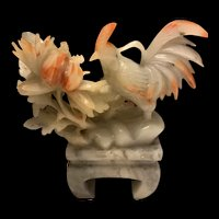 Fabulous Vintage Chinese High Relief Hand Carved Soapstone Rooster Sculpture