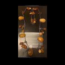 Unique Antique Baltic Amber Butterscotch Amber Pendant Necklace