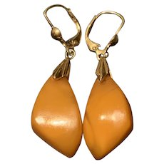 Stunning Vintage Russian 14K Gold Baltic Butterscotch  Amber Earrings Marked