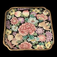 Antique Chinese Canton Enamel Brass Dish With Hand Painted