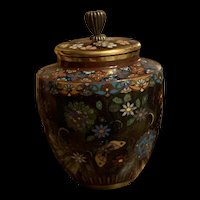 Antique Japanese Meiji period Cloisonné Covered Urn
