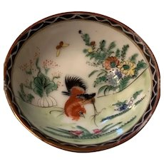 Vintage Chinese Small Rooster Porcelain Bowl