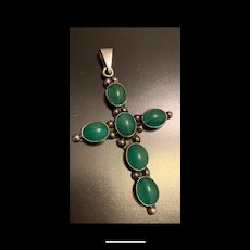 Large Vintage Taco Mexican Sterling Silver Green Chrysoprase Cross Pendant