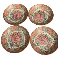 Vintage Rose Medallion Chinese Export Porcelain Dishes