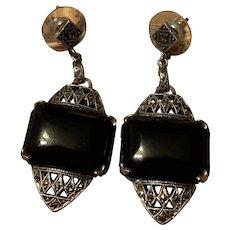Stunning Art Deco Black Onyx Sterling Silver Pierced Post Dangle Drop Earrings