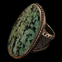 Stunning Vintage Navajo Natural Turquoise Sterling Silver Ring Hallmarked