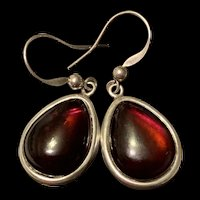 Rare Vintage A Chunky Pair Of Cherry Baltic Amber Drop Earrings