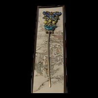 Art Deco  Vintage Chinese Exquisite Handmade Silver Butterfly  Enamel Hairpin